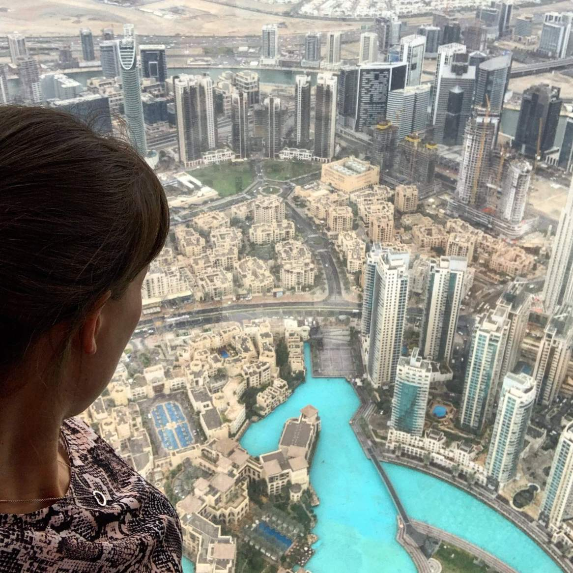 An image of myself looking out over the views of Dubai from the Burj Khalifa