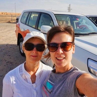 A selfie with my mum by our 4x4 ready for our Desert Safari in Dubai