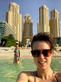 On Jumeirah Beach in Dubai.