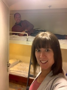 A selfie in our two bunk cabin