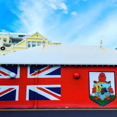 Flag of Bermuda painted on a building