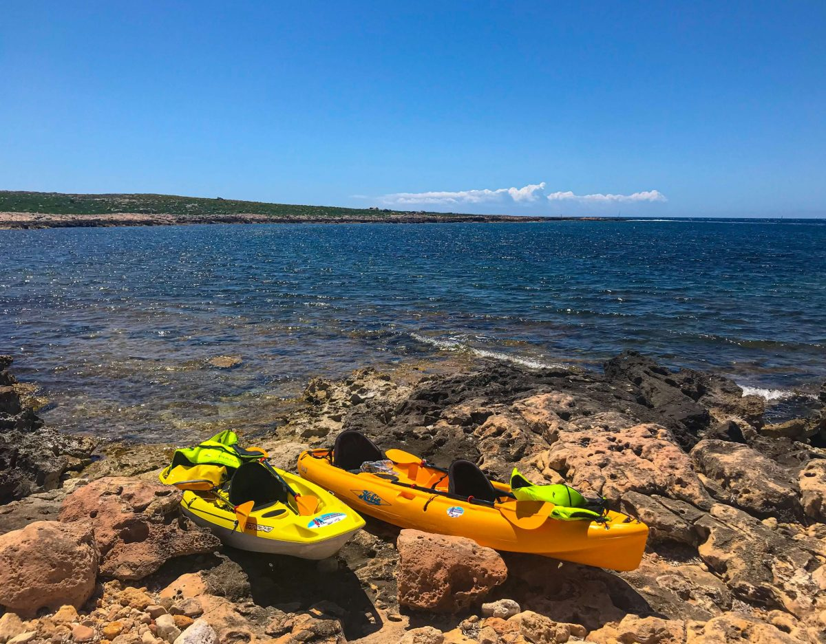Kayaks at Illa de l'Aire, Menorca