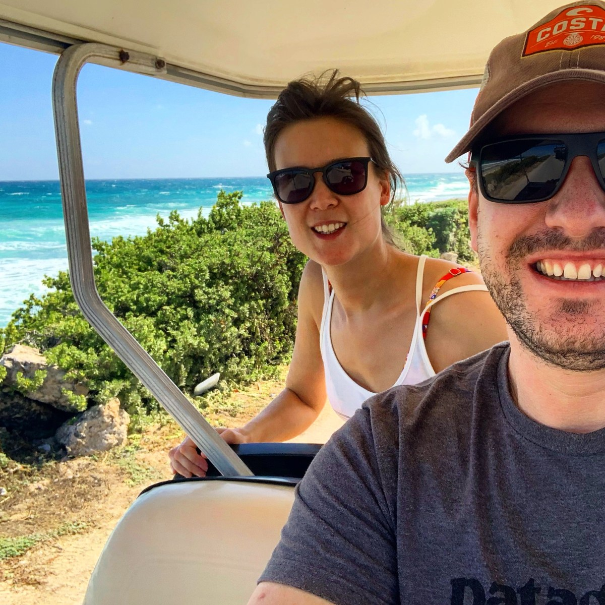 On the golf buggy, Isla Mujeres, Mexico