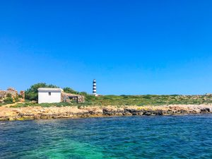 View of Illa de l'Aire from kayak, Menorca