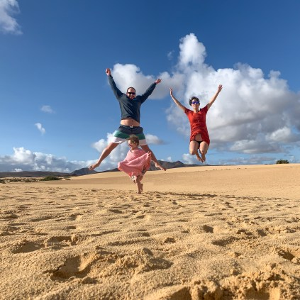 The three os us jumping mid air in the Corralejo sand dunes, Fuerteventura