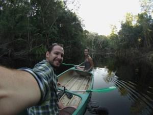 A kayaking selfie on the creek at Ferns Hideaway, Australia
