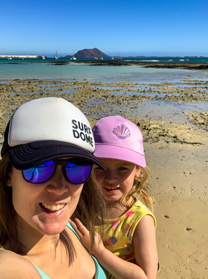 A selfie at low tide at Playa Hoplaco Beach, Corralejo, Fuerteventura