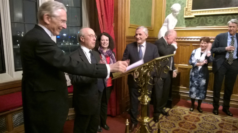 The Franco-British Lawyers Society (Association des Juristes Franco-Britanniques) held its traditional annual reception in the River Room of the House of Lords in January 2017. Although I have been involved with the FBLS for more than a decade first as a committee member then as a co-director for Scotland as well as web designer, it is only the second time that I have been to the prestigious London event. We had some very touching speeches from the Lord Speaker, Lord Hope of Craighead, Sylvie Bermann (Ambassadeur de France au Royaume-Un) and Bernard Vatier (the President of the FBLS) addressing the challenges and opportunities that Brexit represent for our Society. Some of those speeches are already available on the website [access restricted to members] and we expect some more as well as pictures of the event soon. Before the reception, the FBLS had its annual general meeting where, amongst other things, the society agreed to revamp its academic prizes. Hopefully, we should be able to announce the new format soon. And on my way to the House of Parliament, I was caught up in an anti-Trump rally at the Temple Tube Station. I cannot say I did not share the sentiment. Picture Credits: - Palace of Westminster at night (2007) DAVID ILIFF License CC-BY-SA 3.0 - FBLS Annual Reception House of Lords (2017) N Jondet