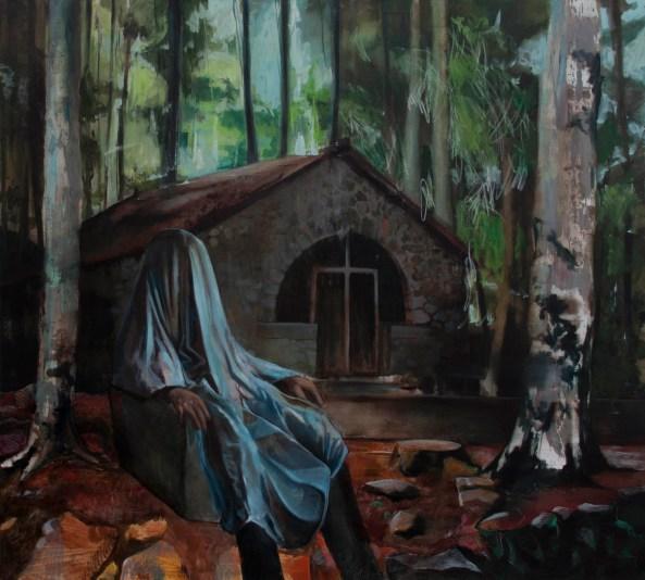 Fantome 3, huile sur toile, 180x180 cm, 2018