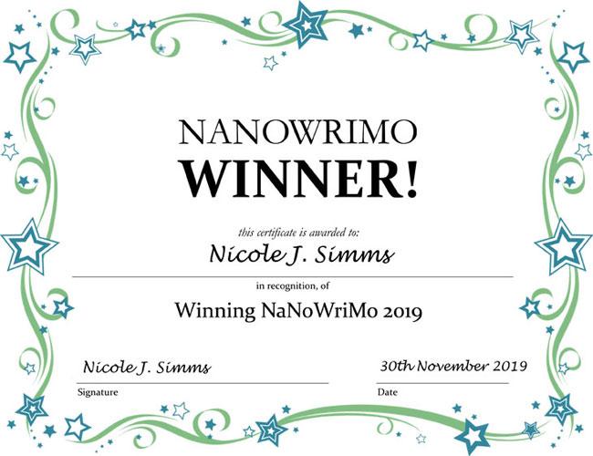 My NaNoWriMo Winner certificate 2019