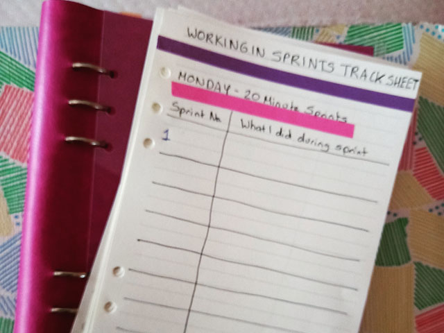 Working in Sprints — A Productivity Experiment - Track Sheet