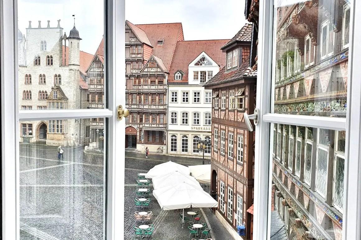 Uitzicht op het marktplein van Hildesheim