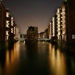 Hamburg bei Nacht - Fleete der hamburger Speicherstadt