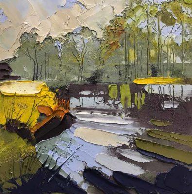 Autumn Nidd - Oil-on-Board - 20cm-x-20cm - Sarah Garforth