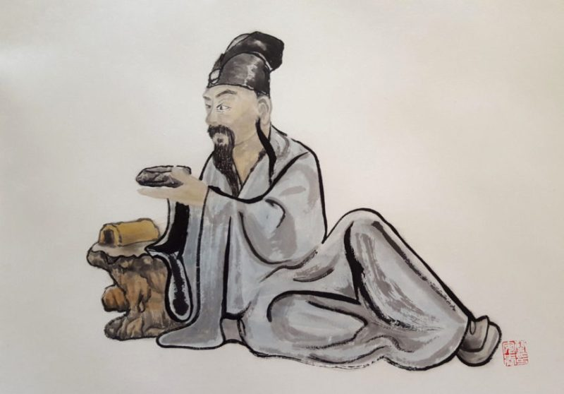 Scholar with ink stone - Chinese ink