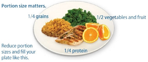 A plate of food with proportions listed