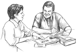 Drawing of a female registered dietitian consulting with a male patient.