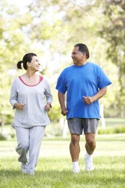 Happy couple jogging.