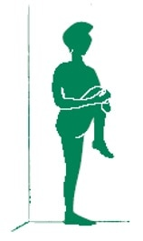 Silhouette illustration of woman stretching knee by pulling knee to chest.