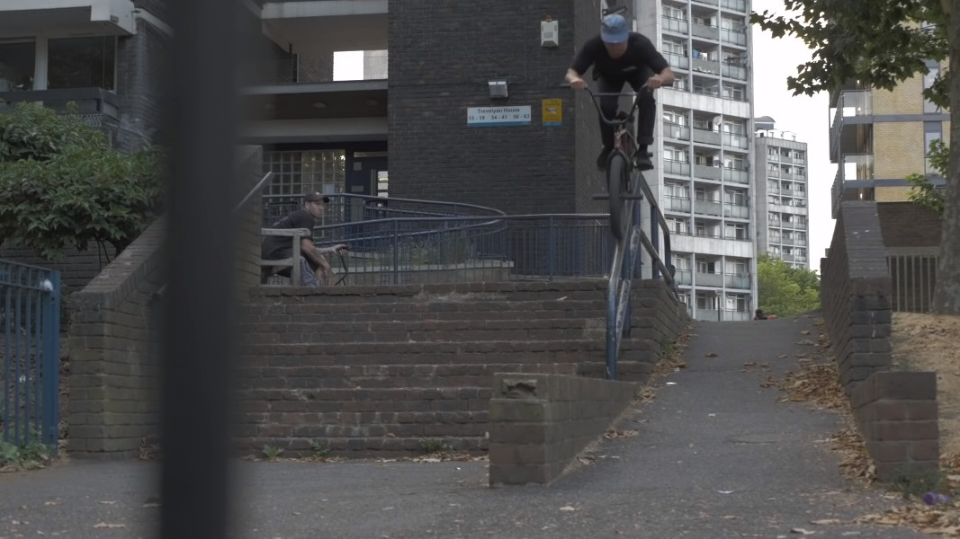 Ollie Shields - Rail Roll drop down to Barspin off BMX