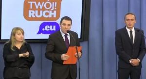 """Na zdj. posłowie """"Twojego Ruchu"""" podczas konferencji w Sejmie."""
