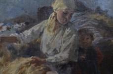 """Fragment obrazu """"Kobieta czesząca len"""" Zdzisława Jasińskiego."""