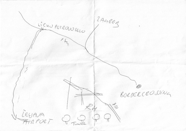 Policijos skyriaus viršininko nupieštas teritorijos žemėlapis
