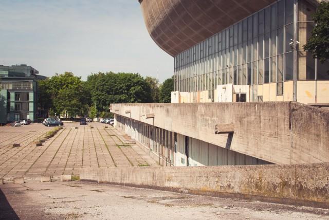 Pietinis Sporto rūmų fasadas