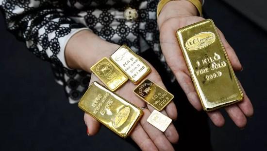 Złote sztabki - różne wielkości