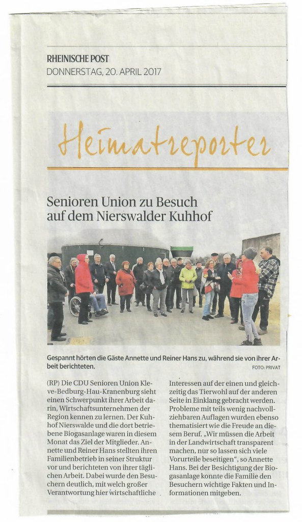 Pressebericht RP Senioren Union besucht Nierswalder Kuhhof