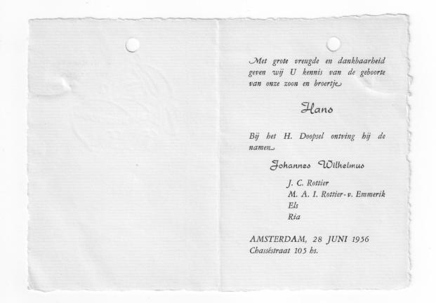 Geboortekaartje van Hans Rottier (1956)