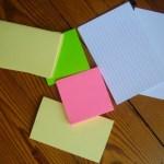 Post-its en kaartjes met en zonder lijntjes