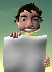 Cartoon van man die leeg vel papier omhoog houdt, copyright David Siqueira