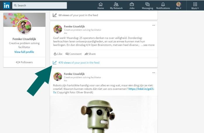 Screenshot van updates op LinkedIn, pijltje naar icoon analytics