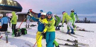 Julia Bargalló, izquierda, en Funaesdaelen, donde ha entrado en el 'top 15' en los dos gigantes FIS disputados en la estación sueca FOTO Twitter Júlia Bargalló