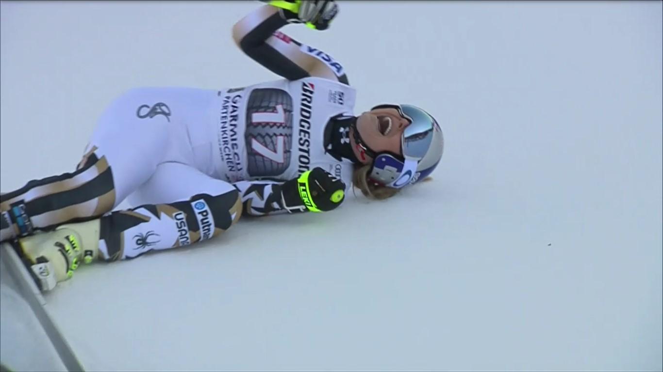 Lindsey Vonn celebra de este modo su mejor tiempo tras cruzar la meta de la Kandahar FOTO: Eurosport