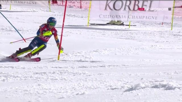 Shiffrin no ha fallado y ha visto como sus rivales para la victoria del slalom (Holdener) y para el Globo de la especialidad (Zuzulova) no han acabado la carrera FOTO: Eurosport