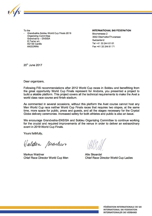 Carta de la FIS enviada la semana pasada a la estación andorrana