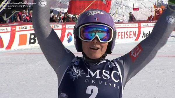 Después de tres segundos puestos esta temporada, Tessa Worley ha subido hoy en Lenzerheide a lo más alto del podio