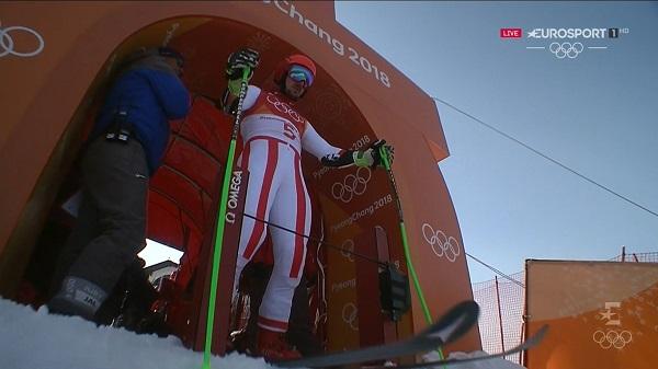 Hirscher, a punto ded tomar la salida en el gigante, donde se colgó su segundo oro