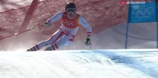 Matthias Mayer en plena bajada del super G que le convertiría en doble campeón olímpico