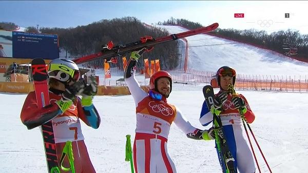 Kristoffersen y Pinturault aplauden a Hirscher, el vencedor