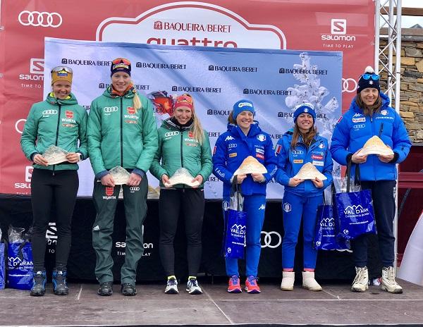 Las italianas han copado el podio de la prueba de persecución de las finales de la OPA Cup en Baqueira FOTO: Baqueira Beret
