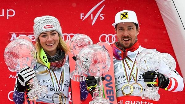 Marcel Hirscher y Mikaela Shiffrin han vuelto a ser los grandes triunfadores de la Copa del Mundo por segundo año consecutivo