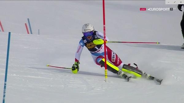 Wendy Holdenrt, segunda, le ha arrebatado la segunda plaza de la general de slalom a Frida Hansdotter