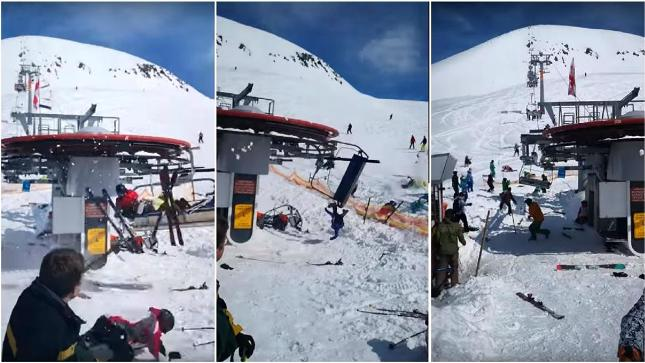 El telesilla lanzó por los aires a decenas de esquiadores (YouTube/ Peter Knyshov)