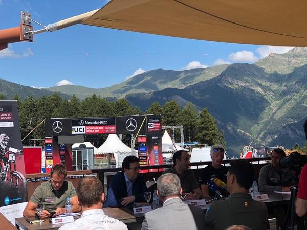 Detalle de la presentación de la prueba de Copa del Mundo de MTB en Andorra.