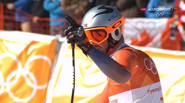 Aksel Lund Svindal al término del descenso de los Juegos de Pyeongchang, que le convirtió en el primer noruego campeón olímpico de la prueba reina de la velocidad.