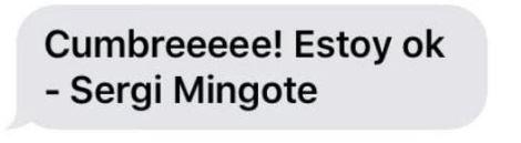 Mensaje de Sergi Mingote al llegar a la cima