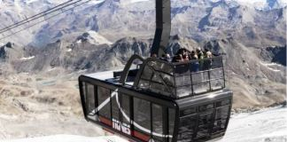 El flamante teleférico de la estación alpina